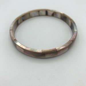 NEW Mother of Pearl Shell Mosaic Bangle Bracelet